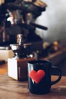 vintage color tone : cup of coffee in coffee shop photo