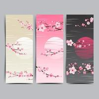 banner de fondo de flor de cerezo vector