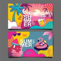 Card Set with Bright Colors and Summer Elements vector