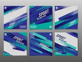 conjunto de banner de redes sociales de deportes grunge verde y azul