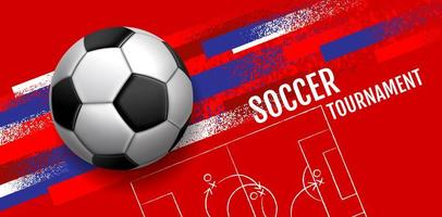 Banner de rayas rojas grunge con fútbol o fútbol