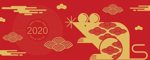 Banner for Chinese New Year with Rat and Clouds vector