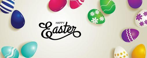 Horizontal Easter Banner with Colorful Patterned Eggs