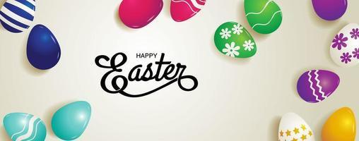 bannière de Pâques horizontale avec des oeufs à motifs colorés