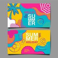 hola conjunto de tarjetas de verano