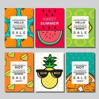 Colorful Summer Fruit Card Set with Copy Space