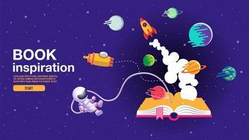 cartel horizontal con libro abierto y escena espacial