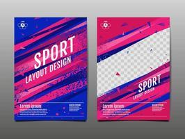 conjunto de plantillas deportivas abstractas de rojo y azul