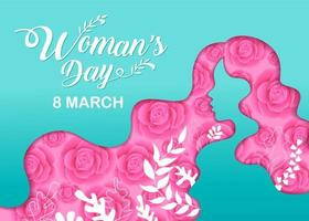 Women's Day Girl Head Silhouette Cutout with Flowers vector