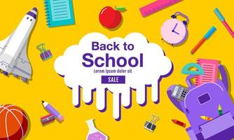 Back to School Banner with Supplies on Yellow