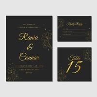 coleção de artigos de papelaria de casamento preto