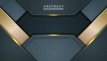 Fondo abstracto gris oscuro y dorado con capas