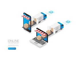 Isometric Delivery Trucks with Boxes vector