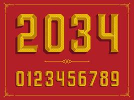 Retro Golden Beveled Numbers