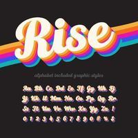 3D alfabeto retrô dos anos setenta vetor