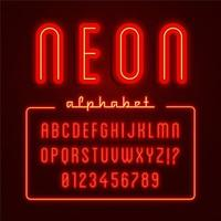 Glowing Red Neon Alphabet