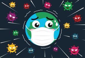 mundo de dibujos animados con máscara protectora vector