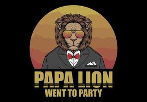 Papa Lion in Retro Style vector
