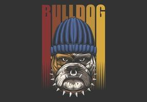 Ilustración retro bulldog urbano vector