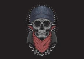 Skull bandana with third eye  vector