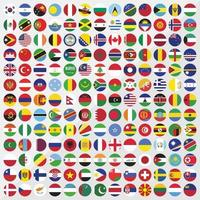 Round country flags icon set vector