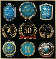 50th Anniversary Badge Templates vector