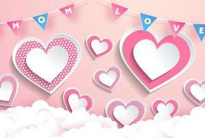 Mom Love Text in Garland Pink Heart Design