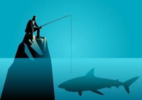 Businessman Silhouette Fishing for Shark