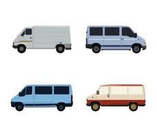 conjunto de varias furgonetas vector