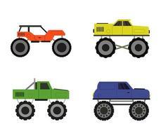 conjunto de iconos de camión monstruo vector