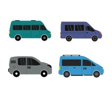 Set of Colorful Van Icons  vector