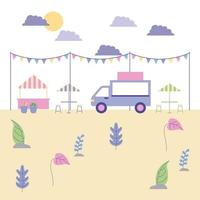 outdoor food truck op park vector