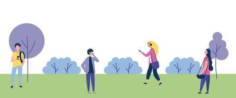 pessoas caminhando ao ar livre no parque vetor