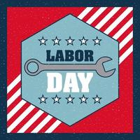 Labor Day Background with Stripes, Stars, and Wrench vector