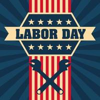 Labor Day Background with Silhouette of Wrenches