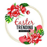 Easter Offer Design with Circular Watercolor Floral Frame vector