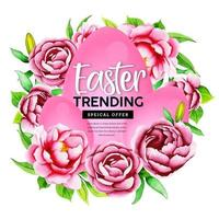 Pink Watercolor Flower and Egg Design vector