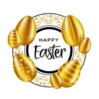 Happy Easter Text in Ornate Circle Frame with Eggs