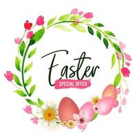 Easter Watercolor Floral Wreath and Text vector