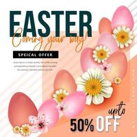 Easter Offer with Diagonal Stripes, Flowers and Eggs