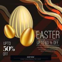 Easter Sale Poster with Curved Lines and Golden Eggs