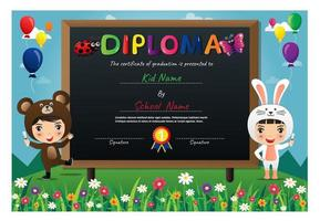 Colorful kids wearing animal costumes diploma vector