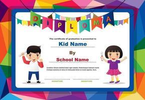Diploma de diseño poligonal para niños y niñas