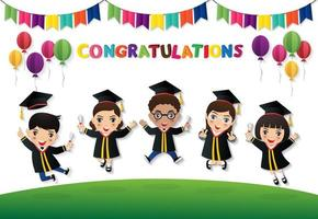 Happy students jumping with diploma vector