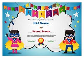 Superhero Kids and Garland Diploma Design vector