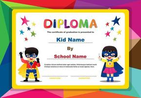 Polygon design diploma with superhero boy and girl