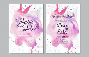 Save the date set with colorful watercolor splash