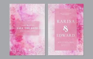 Pink watercolor save the date set with foliage