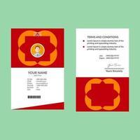 modelo de cartão de identificação de forma geométrica simples vermelha e laranja