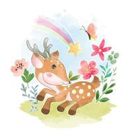 Deer in Garden With Butterfly and Rainbow vector